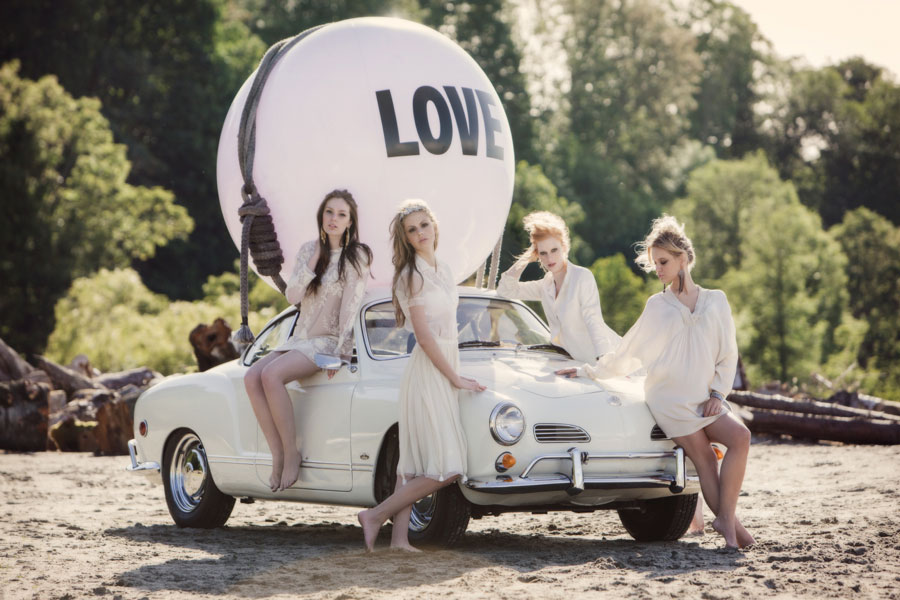 The Bridesmaids and a vintage Volkswagen Karmann Ghia - Big Love Ball throws a bachelorette beach party along the Spanish Banks | Photo by Leanne Pedersen